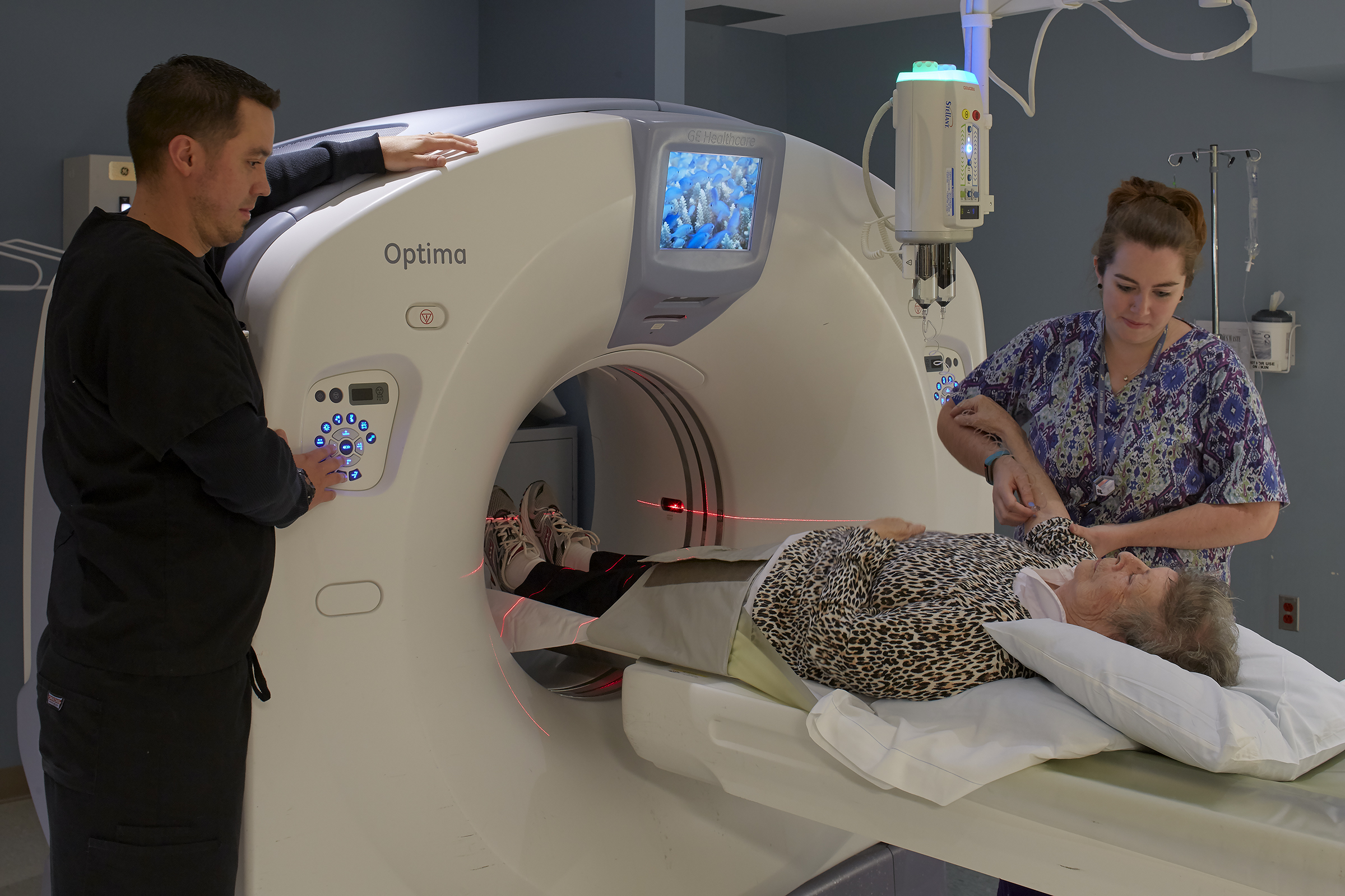 Patient Receiving Low-Dose CT Scan