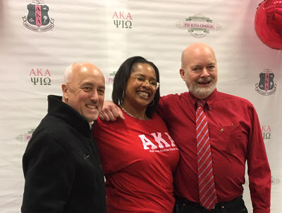"Brockton Mayor Bill Carpenter is pictured below with the President of Psi Iota Omega chapter of Alpha Kappa Alpha Sorority, Kimberly E. Zouzoua, and David Mudd, MD, a Family Physician of Steward Medical Group who led the ""Walk with a Doc"" portion of the event."