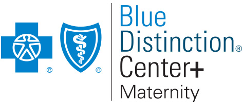 Photo of blue distinction maternity logo