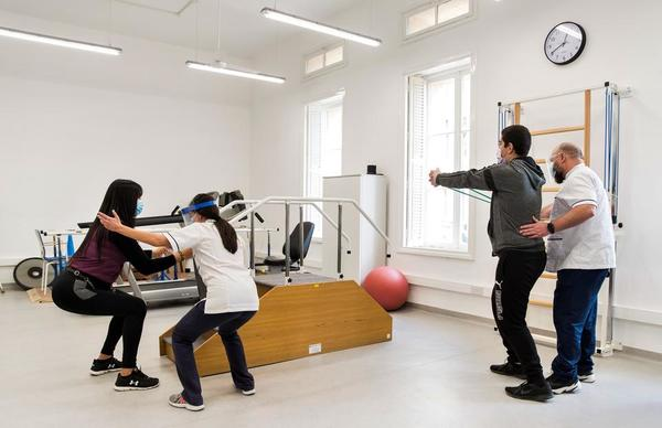 Physiotherapists in the ortho gym at the newly refurbished physiotherapy department in Karin Grech Hospital guiding patients through their rehabilitation programme.