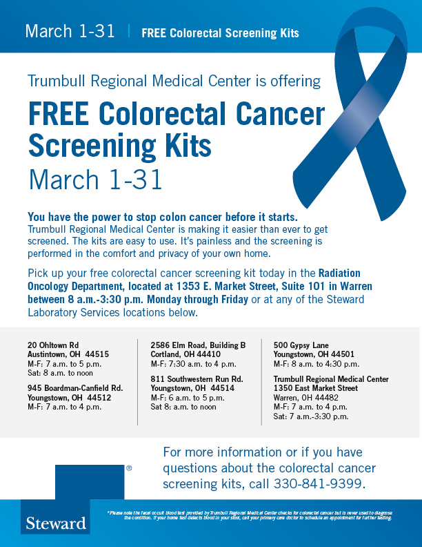 Trumbull Regional Medical Center Offering Free Colorectal Cancer Screening Kits In March Trumbull Regional Medical Center A Steward Hospital Warren Oh