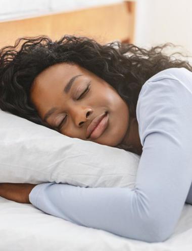 lady sleeping well