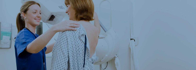 Lady Getting A Mammogram